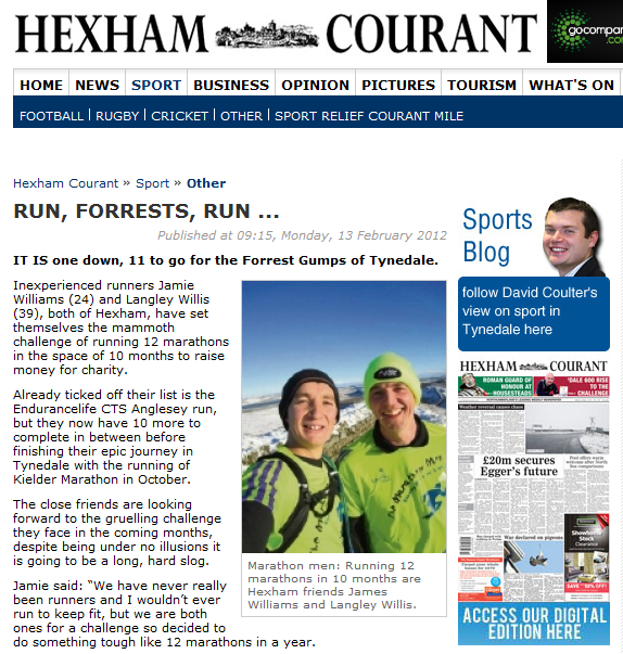 Hexham Courant Article